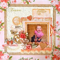 """Scrapbook layout created using papers by Pink Paislee """"Cottage Farms"""" and Inkido."""