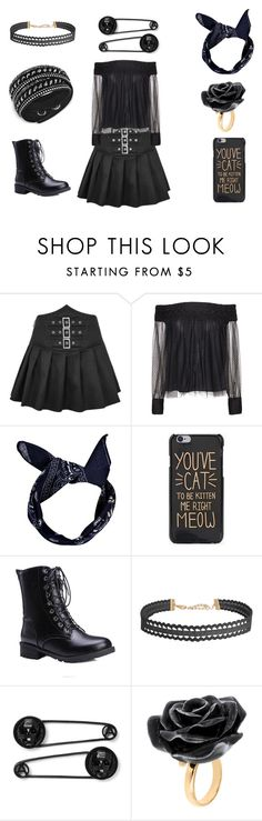 """""""Blackkkkk"""" by musikluver00 on Polyvore featuring Alice + Olivia, Boohoo, Humble Chic, Nach Bijoux, Swarovski, outfit, black and goth"""