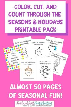 Early learning printable pack: Color, Cut, & Count through the Seasons. Preschool Learning Activities, Book Activities, Dementia Activities, Preschool Printables, Learning Resources, Physical Activities, Numbers Kindergarten, Preschool Kindergarten, Homeschool Blogs