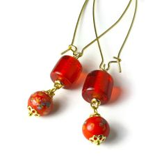 Red Bead Dangle Earrings, Everyday Jewelry