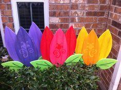painted wood yard stakes | Spring Flowers Tulips Yard Art Yard by WildeWoodTreasures on Etsy