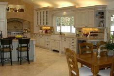 Country French kitchen-a more neutral take on this theme. #country#french#kitchen