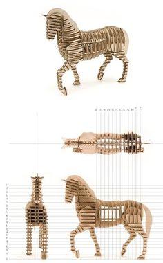 Cardboard animal Horse   d-torso
