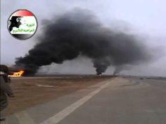 الطريق السريع الدولي في الفلوجة حرق آليات القوات الحكومية صباح 4/1/2014