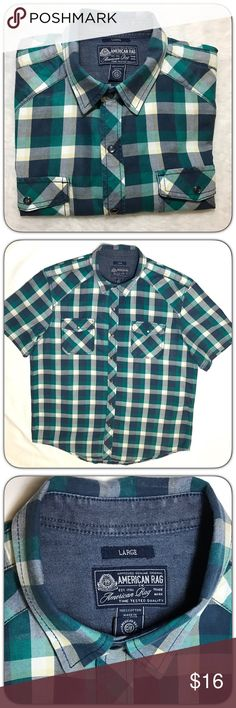American Rag Mens Western Cut Plaid Snap Shirt American Rag Mens Western Cut Plaid Snap Shirt.  Green and Navy Blue Plaid American Rag Shirts Casual Button Down Shirts