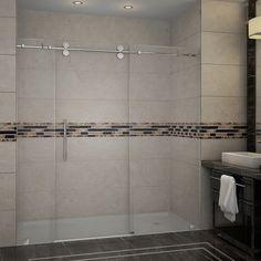 Bathroom Remodel Discover Aston Langham 60 in. x 35 in. Frameless Corner Sliding Shower Door in Matte Black Right - The Home Depot Aston Langham 60 in. x 35 in. Frameless Corner Sliding Shower Door in Matte Black Right Drain Frameless Sliding Shower Doors, Frameless Shower Enclosures, Sliding Doors, Tub Enclosures, Shower Alcove, Shower Tub, Shower Stalls, Glass Shower, Master Shower