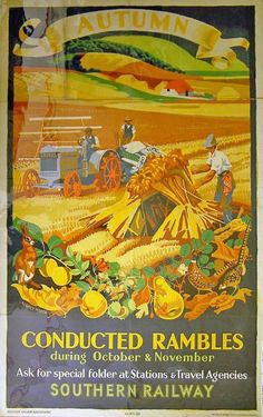 Poster, Southern Railways, 'Conducted Rambles, Autumn' by Audrey Weber, 1935