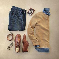 Esporte Fino. Macho Moda - Blog de Moda Masculina: Esporte Fino Masculino, Dicas para Inspirar! Moda Masculina, Roupa de Homem, Moda para Homens, Suéter Marrom, Camisa Jeans, Calça Jeans Slim, Sapato Brogue Marrom