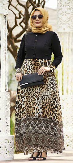 Nesrin Emniyetli Leopar Etekli Siyah Şifon Büyük Beden Tesettür Elbise