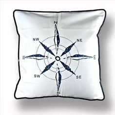 Amazon.com - New Mediterranean White Navy Compass Sea Ocean Decorative Pillow Case Cushion Cover -