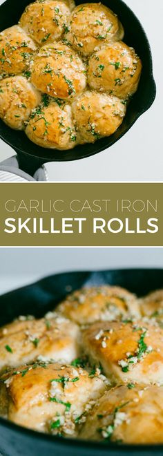 Skillet Rolls with Garlic and Parsley // Simple bread rolls baked in a cast iron. - Skillet Rolls with Garlic and Parsley // Simple bread rolls baked in a cast iron skillet and topped - Cast Iron Bread, Cast Iron Dutch Oven, Cast Iron Cooking, Skillet Bread, Skillet Meals, Skillet Cooking, Cooking Torch, Skillet Cornbread, Recipes With Yeast