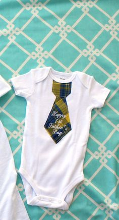 Happy 1st Father's Day Baby Boy Tie Onesie  by ChicCoutureBoutique, $23.50