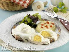 Natúrszelet fokhagymás tojással recept Ale, Pork, Eggs, Breakfast, Kale Stir Fry, Morning Coffee, Pigs, Ales, Egg