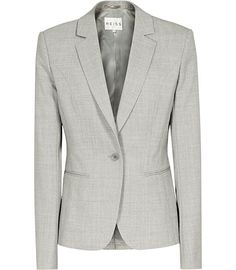 REISS | Ravello Formal Jacket in light grey | 70% wool 29% polyester 1% polyutherane, Lining composition : 54% polyester 46% viscose Dry cleanable | Fully-lined, one-button tailored blazer with a slim notch lapel, front welt pockets, shape-enhancing seam detail and a single vent to the back | £225