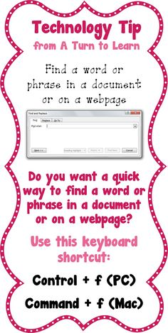 Find a Word or Phrase in a Document or on a Website!  I like the idea of technology tidbit anchor charts.... Hmmmm