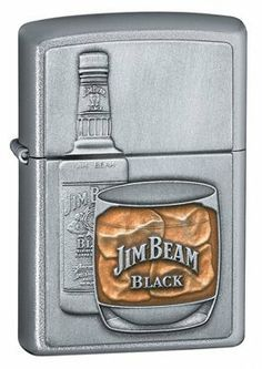 Satin Chrome, Jim Beam Bottle Emblem by Zippo. $37.37. Amber colored epoxy represents the smooth distinctive flavor of Jim Beam Black Bourbon.ATTRIBUTESFinish/Material:Satin ChromeFuel:Lighter FluidGraphic:Jim Beam Bottle EmblemSpecial Features:Windproof