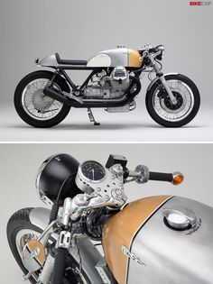 """Every few months, a freshly-customized Moto Guzzi rolls out of Axel Budde's Hamburg workshop. And you know what to expect: it will be stripped back, elegant, immaculately finished and powerful. This Le Mans is Budde's seventh custom build, and nicknamed """"Caffettiera d'oro""""—meaning golden coffee machine. It's one of 13 bikes featured in the 2014 Bike EXIF Custom Motorcycle Calendar: get yours from https://www.octanepress.com/book/bike-exif-custom-motorcycle-calendar-2014"""