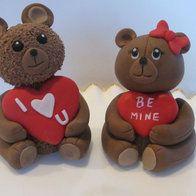 3D Fondant Valentine Teddy Bear Cake Toppers