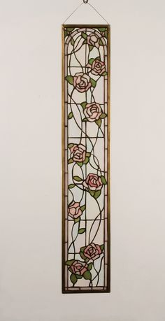 "Meyda 6.5""W X 36""H Tiffany Rosebush Stained Glass Window"