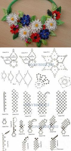"""Колье """"Полевые цветы"""" со схемами и описанием.  Автор: Михайлова Елена"""