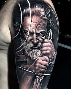 Best Tattoos of This Week - Realistic Tattoos and Artful Tattoo Designs Beau. - Best Tattoos of This Week – Realistic Tattoos and Artful Tattoo Designs Beautiful Tattoos – - Portrait Tattoo Sleeve, Wolf Tattoo Sleeve, Tattoo Sleeve Designs, Sleeve Tattoos, Viking Tattoos For Men, Viking Warrior Tattoos, Cute Tattoos For Women, Tattoo Odin, Body Art Tattoos
