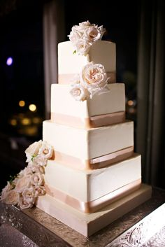 Featured Photographer: Sara France; Sophisticated four tier white and blush square wedding cake