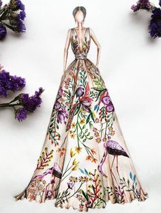 Gorgeous clothing sketch floral cranes and foliage trendy fashion drawing illustration artworks 23 ideas Portfolio Mode, Fashion Portfolio, Portfolio Ideas, Portfolio Design, Clothing Sketches, Dress Sketches, Trendy Fashion, Fashion Art, Fashion Models