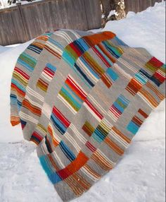 """Strips & Stripes, a Ravelry """"pattern"""" - kinda free flow knitted afghan."""