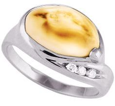 Beautiful Custom Womens Elk Ivory Ring with diamonds and elk