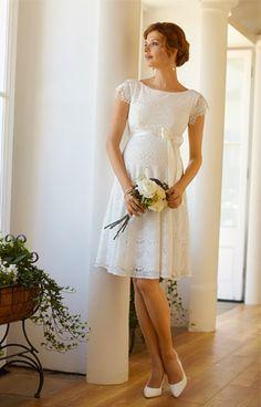 Harriet Maternity Dress Short Bright Ivory by Tiffany Rose