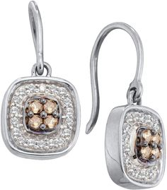 0.33CT Chocolate Brown/White Diamond 14K White Gold Earrings