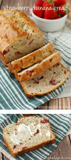 Strawberry Banana Bread-A simple and delicious quick bread perfect for breakfast and snacking! Köstliche Desserts, Delicious Desserts, Dessert Recipes, Yummy Food, Delicious Cookies, Strawberry Banana Bread, Strawberry Recipes, Strawberry Cookies, Banana Nut