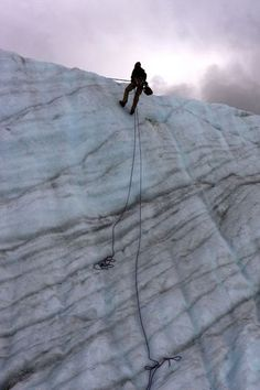 An ice climber makes his way down on Root Glacier in Alaska.