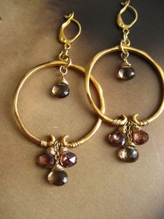 Smoky quartz and topaz cz hoop earrings- solid sterling silver with 14k gold plating by ElfiRoose on Etsy