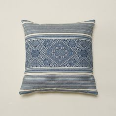 Blue & Cream Geometric / Organic Cream Washing Dobby-Cotton-Linen