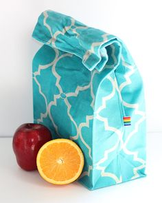 Waxed Canvas Lunch bag - Teal Moroccan Canvas - Lined - Natural, Food Safe, Reusable Waxed Canvas Lunch Bag - Natural Alternative to plastic