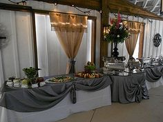 Catering display in the Vintage White Barn at Victoria Belle Mansion, via Flickr www.victoriabelleweddings.com