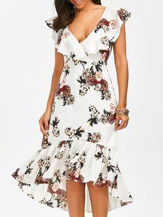 Plunging Floral Ruffle Backless Tea Length Dress - White M Elegant Dresses, Women's Dresses, Cute Dresses, Dress Outfits, Casual Dresses, Fashion Dresses, Dresses For Work, Summer Dresses, Short Sleeve Dresses