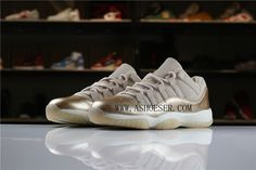 2018 Air Jordan 11 Low Rose Gold AH7860-105 For Sale  The Air Jordan 11 Low GS Rose Gold features a nubuck/leather construction on the upper instead of the traditional ballistic nylon. The highlight of this colorway is the Metallic Red Bronze Rose Gold patent mudguard. Additional hits of rose gold are seen on the tongue and heel branding as well as on the aglets. A white midsole and a pink tinted translucent outsole cap off the look on this Air Jordan 11 Low. Air Jordan 11 Low, Nike Air Jordan 11, Air Jordan Shoes, Cheap Air, Highlight, Air Jordans, Metallic, Bronze, Rose Gold
