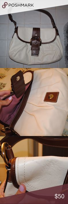 Coach Cream and Brown Handbag Used but good condition • some visible markings, not too noticeable unless you're looking for them • pink inside Coach Bags Shoulder Bags