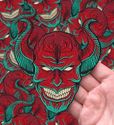 This is a high quality embroidered patch featuring my Grinning Djinn design. This patch is approximately wide by tall and has a heat transfer backing. All orders come with free stickers. Shirt Embroidery, Embroidery Patches, Embroidered Patch, Embroidery Ideas, Cool Patches, Pin And Patches, Jacket Patches, Memory Pillows, Morale Patch