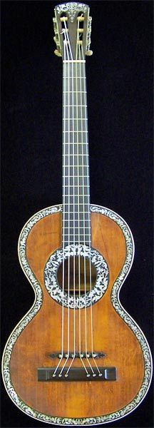 Early Musical Instruments, antique Romantic Guitar by H. Derazey around 1831