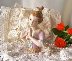 Antique Half Doll Pin Cushion Doll Boudoir Doll by cynthiasattic, $69.00