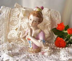 Antique Half Doll Pin Cushion Doll Boudoir Doll by cynthiasattic, $69.00