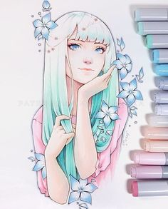 Harmony - new original that will be released on Kickstarter tomorrow GMT ? I wonder how many of you remember this work? I posted a sketch of it here a really long time ago :D Copic Drawings, Anime Drawings Sketches, Pencil Art Drawings, Cute Drawings, Copic Marker Art, Copic Art, Anime Art Girl, Manga Art, Pretty Art