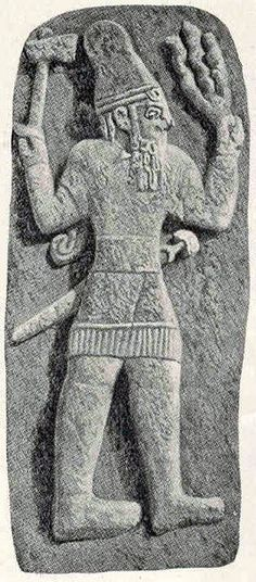 Sky God Connections - Indo European Images  Hittite carving of the sky-god Teshub discovered at Babylon - probably the spoil of war and certainly dating from very early time