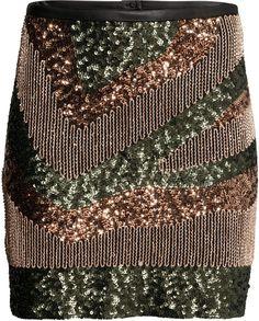 Camo (ish) Sequined Skirt