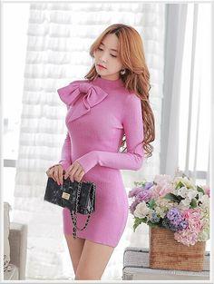 Morpheus Boutique - Pink Bow Designer Long Sleeve Pencil Designer Dress