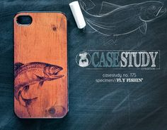 """iPhone 4, 5 / 5s, Samsung Galaxy S3 Case - """"Fly Fishin' """" - For fisherman+ outdoorsman. Phone cover: Trout on faux wood. Fly fish!"""