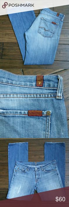 7 For All Man Kind Jeans Size 29, bootcut, 98% cotton, 2% polvurethane, distressed look, only worn a handful of times.. 7 for all Mankind Jeans Boot Cut
